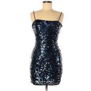 BCBGMAXAZRIA Blue Sequin Cocktail Dress